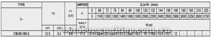 Máy bơm Pentax CM 80-160E bảng thông số kỹ thuật