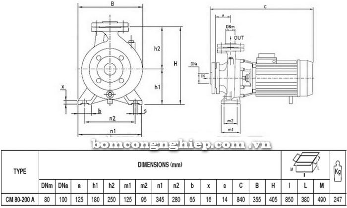 Máy bơm Pentax CM 80-200A bảng thông số kích thước
