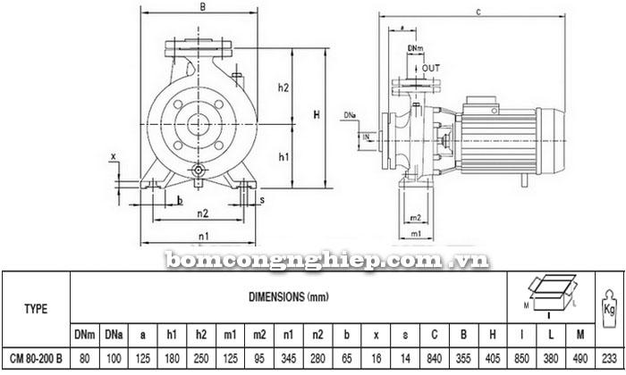 Máy bơm Pentax CM 80-200B bảng thông số kích thước