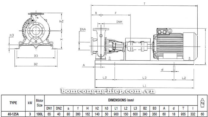 Bơm ly tâm trục rời Pentax CA 40-125A bảng thông số kích thước