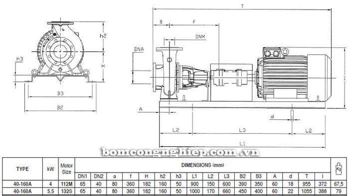Bơm ly tâm trục rời Pentax CA 40-160A bảng thông số kích thước