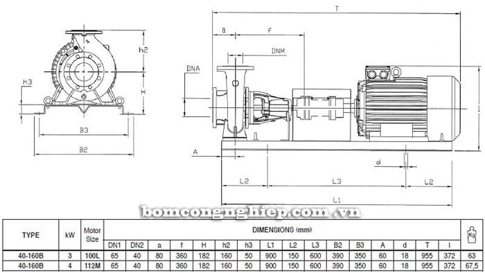 Bơm ly tâm trục rời Pentax CA 40-160B bảng thông số kích thước