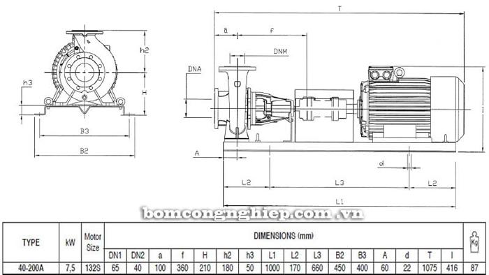 Bơm ly tâm trục rời Pentax CA 40-200A bảng thông số kích thước