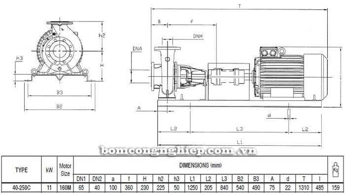Bơm ly tâm trục rời Pentax CA 40-250C bảng thông số kích thước