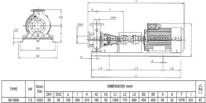 Bơm ly tâm trục rời Pentax CA 50-160A bảng thông số kích thước