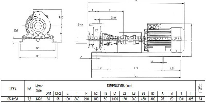 Bơm ly tâm trục rời Pentax CA 65-125A bảng thông số kích thước
