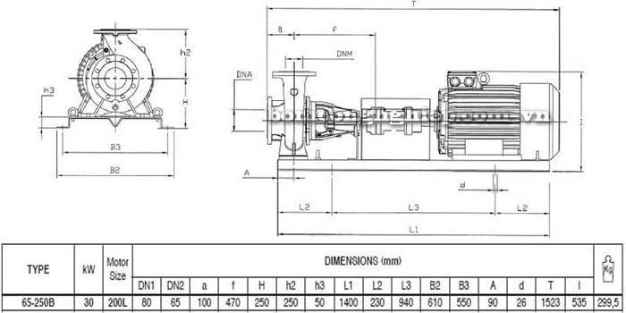 Bơm ly tâm trục rời Pentax CA 65-250B bảng thông số kích thước