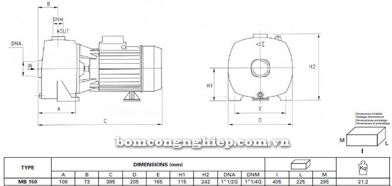 may-bom-nuoc-pentax-mb-150-bang-thong-so-kich-thuoc