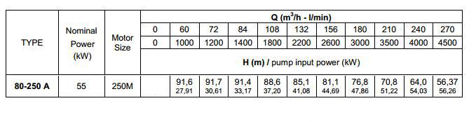 thông số kĩ thuật máy bơm trục rời Pentax CA 80-250A