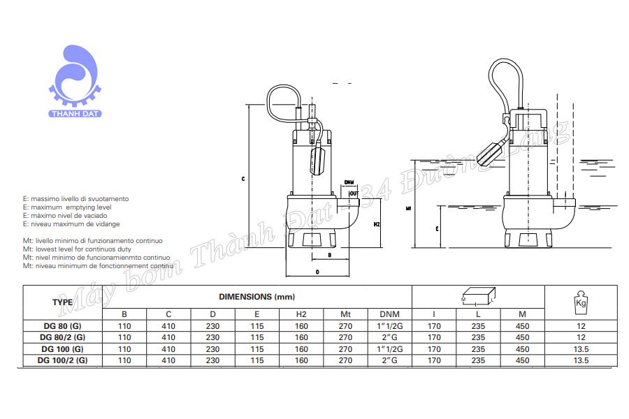 Máy bơm nước thải Pentax DGT 100/2 1.8HP